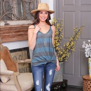 Teal and Gray Striped Knot Front Top